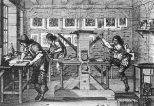 1700s engraving print shop
