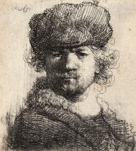 Original Rembrandt self portrait etching