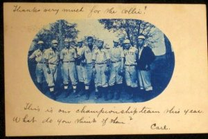 1906 cyanotype real photo postcard of a baseball team.