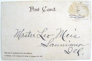 Post Card Era' back: With the earliest real photo postcards, only the address could be written on the back. This back dates the postcard as being from 1901-07
