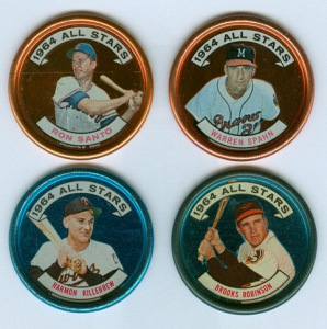 1964 All-Star coins (Santo, Spahn, Killebrew, B Robinson)