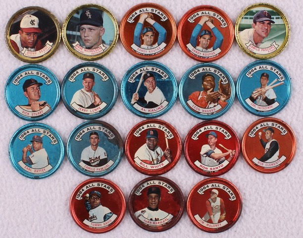 main_1-Lot-of-18-1964-Topps-Baseball-Coins-with-2-159-Sandy-Koufax-150-Roberto-Clemente-134-Carl-Yastrzemski-129-Al-Kaline-PristineAuction.com
