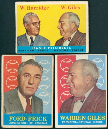 main_1-Lot-of-3-Baseball-Cards-with-1958-Topps-300-League-Presidents-Will-Harridge-Warren-Giles-Warren-Giles-1959-Topps-200-NL-PRES-Ford-Frick-1959-Topps-1-COMM-PristineAuction.com