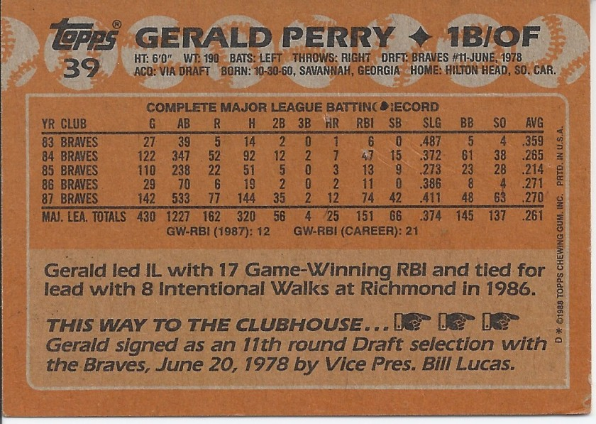 1988 Topps Gerald Perry 39