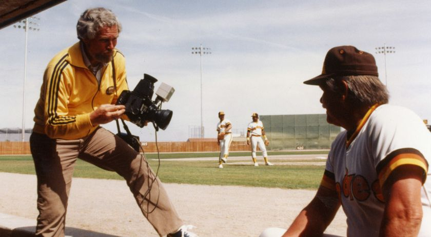 Doug McWilliams photographing Padres manager Dick Williams in 1983.